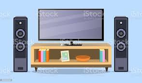design tv zone im flachen stil innenraum wohnzimmer möbel fernseher und regal vektorillustration stock vektor und mehr bilder boden