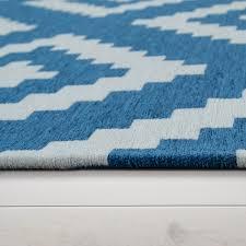 details zu moderner wohnzimmer kurzflor teppich skandi design rauten muster in blau weiß