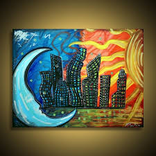 Fine Art Original Abstract Celestial City Paintings On Canvas By Laura Barbosa Contemporary Modern Cityscape Gallery