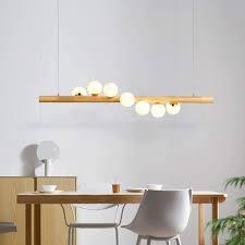 zmh pendelleuchte aus holz rustikal esstischhängele hängeleuchte kugel aus glas pendelle mit g9 leuchtmittel retro deckenleuchte für esszimmer