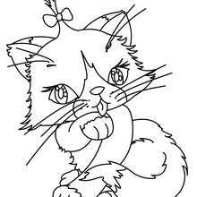Lovely Kawaii Cat Beautiful Coloring Page