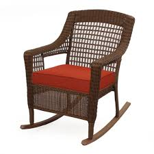 Hampton Bay Spring Haven Brown Wicker Rocker W/ Orange Cushion | The ... 3piece Honey Brown Wicker Outdoor Patio Rocker Chairs End Table Rocking Luxury Home Design And Spring Haven Allweather Chair Shop Abbyson Gabriela Espresso On 3 Piece Set Rattan With Coffee Rockers Legacy White With Cushion Fniture Cheap Dark Find Deals On Hampton Bay Park Meadows Swivel Lounge