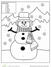 First Grade Holidays Seasons Worksheets Snowman Color By Number