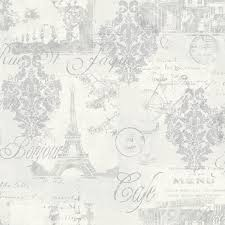 Shabby Chic Silver Paris French Parisian Inspired Wallpaper EBay 800x800