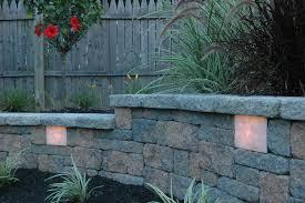 garden wall retaining wall lights station landscape