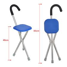 Folding Portable Travel Cane Walking Stick Seat Camp Stool Chair