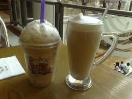 Coffee Beans Pecan Praline Ice Blended Left And Latte Right