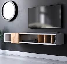 tv lowboard design t in weiß und eiche gold tv unterteil hängend 150 x 25 cm
