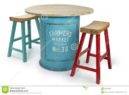 Vintage Barrel Table With Two Modern High Chairs, Stock ...