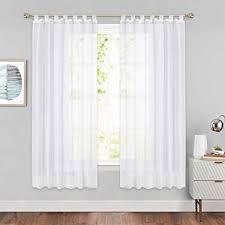 pony voile gardinen mit schlaufen voile vorhang halbtransparent leinenoptik stores gardinen für schlafzimmer 1 paar h 175 x b 140 cm weiß