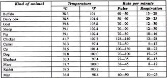 normal temperature range chart determination of temperature pulse and respiration of animals