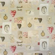 Gardinenstoff Stoff Dekostoff Herzen Brief Uhr Schlüssel