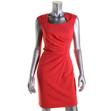 calvin klein 3345 womens pleated cap sleeves wear to work dress