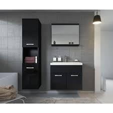 badezimmer badmöbel set montreal 60cm waschbecken hochglanz schwarz fronten unterschrank hochschrank waschtisch möbel