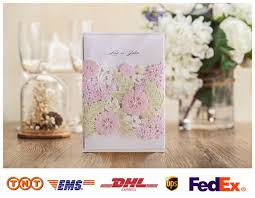 Colorful Flower Elegant Laser Cut Wedding Invitations Card 50pcs Lot For Village Rustic Party