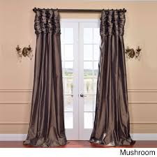Smocked Burlap Curtains By Jum Jum by Exclusive Fabrics Ruched Header Solid Color Faux Silk Taffeta 108