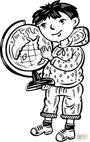Click The Child Holding A Globe Coloring Pages