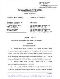 100 Beam Bros Trucking Brothers Indictment Dnronlinecom