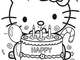Kitty Coloring Pages Happy Birthday Hello Page Free