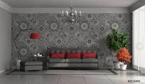 foto auf lager wohnzimmer mit modernem sofa an der wand mit retro fliesen im hintergrund
