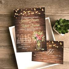 Affordable Rustic Wedding Invitations Spring Flower Mason Jar String Lights 2 Cheap