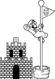 Super Mario Castle Pole Coloring Page
