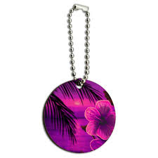 beach sunset hibiscus flower hawaiian purple wood wooden round key