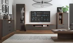 feldmann wohnen wohnwand alicante wohnzimmer set 5 tlg 5 tlg walnussfarben anthrazit kaufen otto