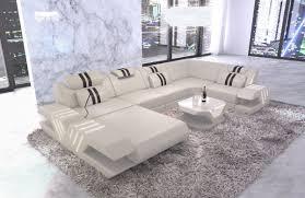sofa wohnlandschaft venedig leder beige schwarz