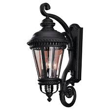 exterior wall light traditional iron finish antique glass