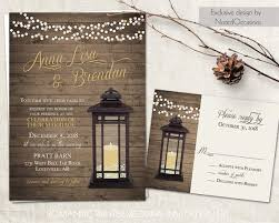 Lantern Wedding Invitations Set Rustic Country Wedding