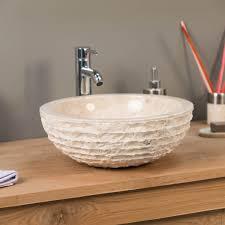 vasque à poser en marbre vésuve ronde crème d 40 cm