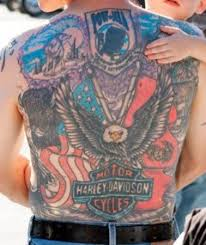 Huge Motorcycle Tattoo On Back
