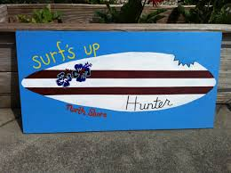 Decorative Surfboard With Shark Bite by Surfboard Painting Customize 12x24 Shark Bite By Smileestudio