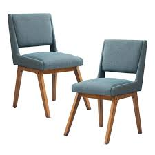 Mid Century Modern Set Of 2 Dusty Aqua Blue Upholstered Dining Room ...