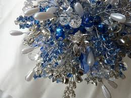 Wedding Bouquet In Royal Blue And Silver With Crystal Flowers