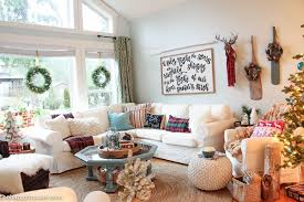 lake cottage christmas decorating in our living and dining room at