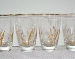 4 Vintage Libbey Golden Wheat Glasses 8 Ozs Party Mid Century