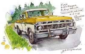 A Blond Pickup Truck For Flaf | Urban Sketchers