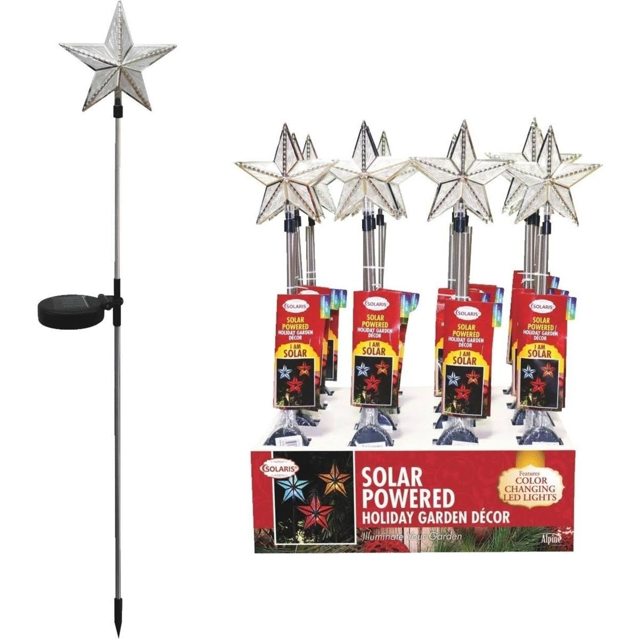 Alpine Solar Star Stake with Color Changing Led Lights