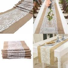 Image Is Loading Burlap Hessian Lace Wedding Table Runner Natural Jute