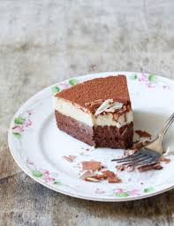 slice of mother s day cake dark chocolate and white coffee mousse cake