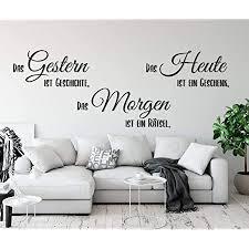 tjapalo a116 wandtattoo gestern ist geschichte wandtattoo wohnzimmer sprüche zitate wandsticker flur modern farbe schwarz größe b100xh36cm
