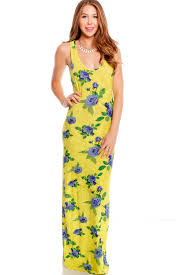 yellow floral print scoop neckline sleeveless racer back casual