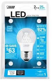 feit accent led 2w 25w 120v a15 clear ceiling fan bulb e26