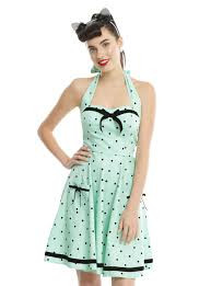 hell bunny mint jolene mini halter dress topic