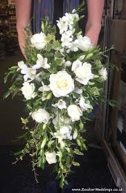 All White Rose and Orchid Brides Shower Bouquet