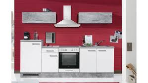 küche spicy küchenzeile küchenblock in weiß und beton grau