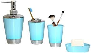 allper bad accessoires set hellblau bad organizer inkl seifenschale spender wippe und zahnbürstenhalter