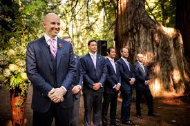 Groom And Groomsmen In Blue Suits At Forest Wedding